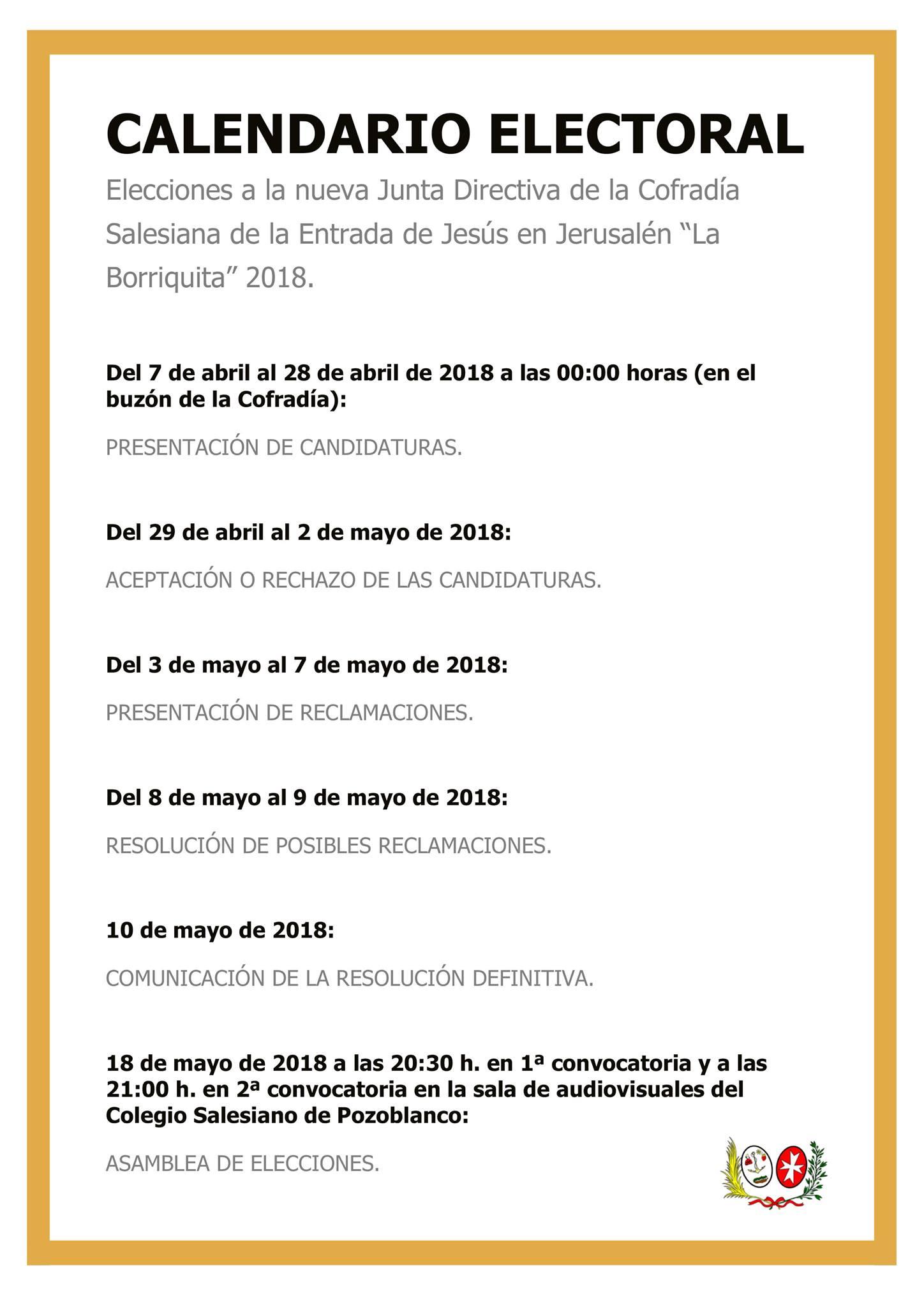 Calendario Electoral La Borriquita 2018