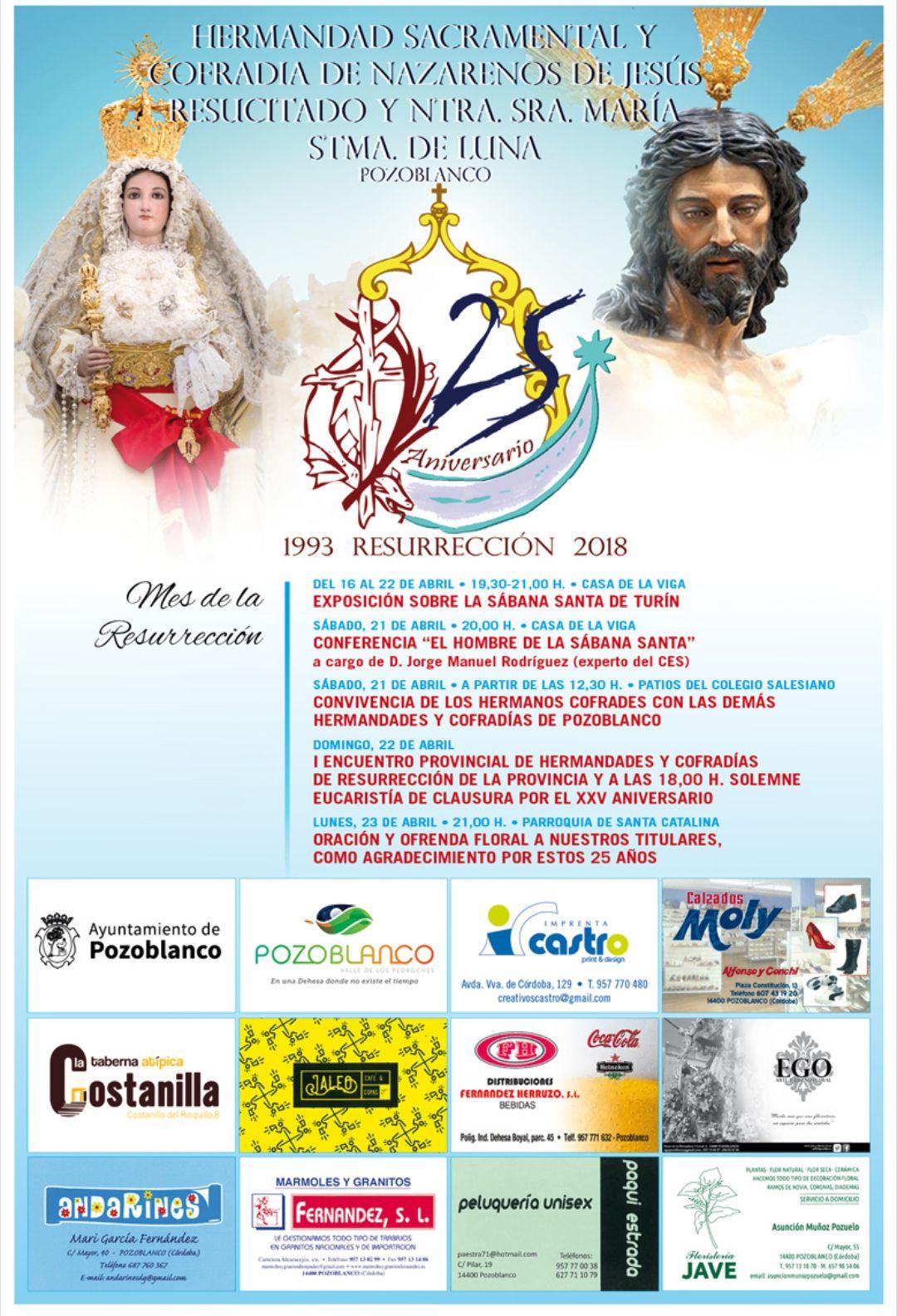 Actos 25º Aniversario Hermandad Resucitado y Virgen de Luna de Pozoblanco