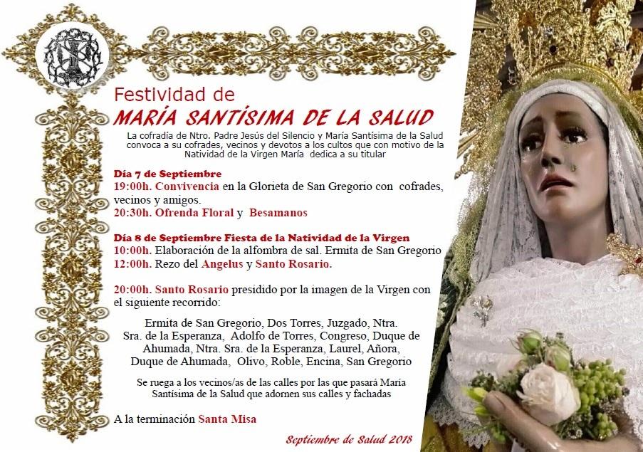 Actos con motivo de la Festividad de la Virgen de la Salud