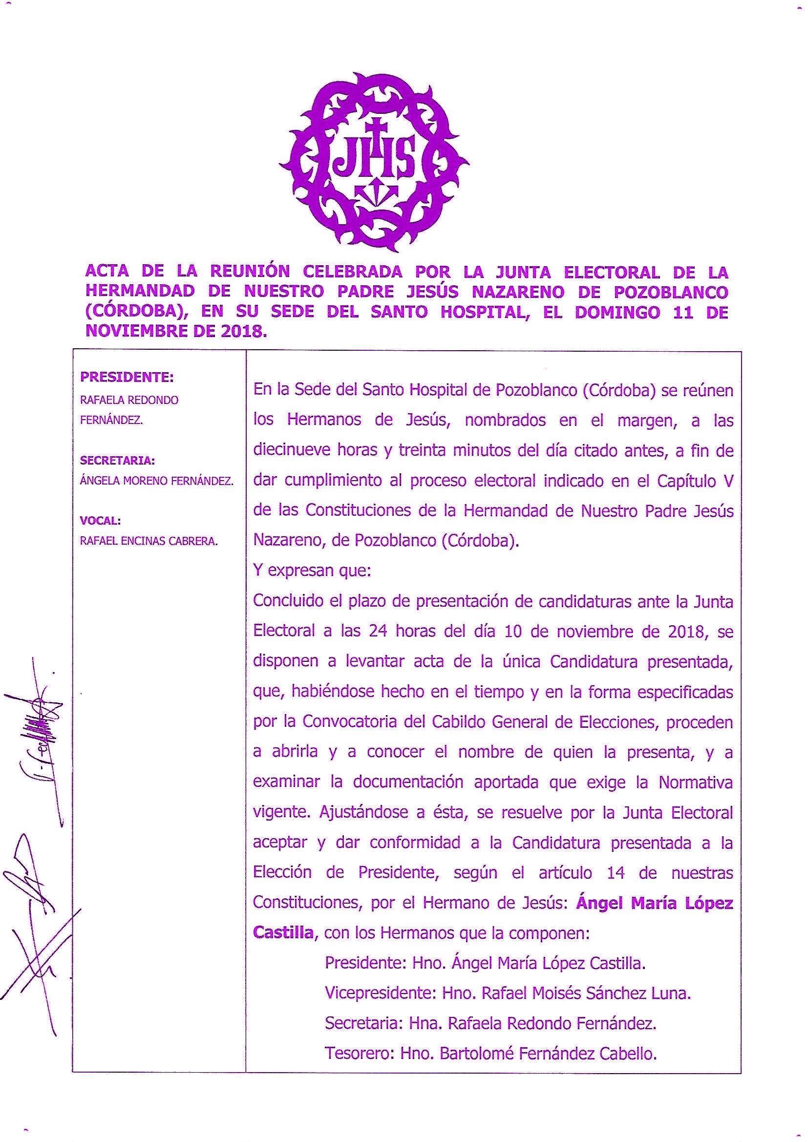 Acta Junta Electoral de la Admisión de la Candidatura 2018 de la Hdad. de Jesús Nazareno