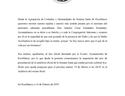 Comunicado suspensión presentación cartelería oficial Semana Santa 2019