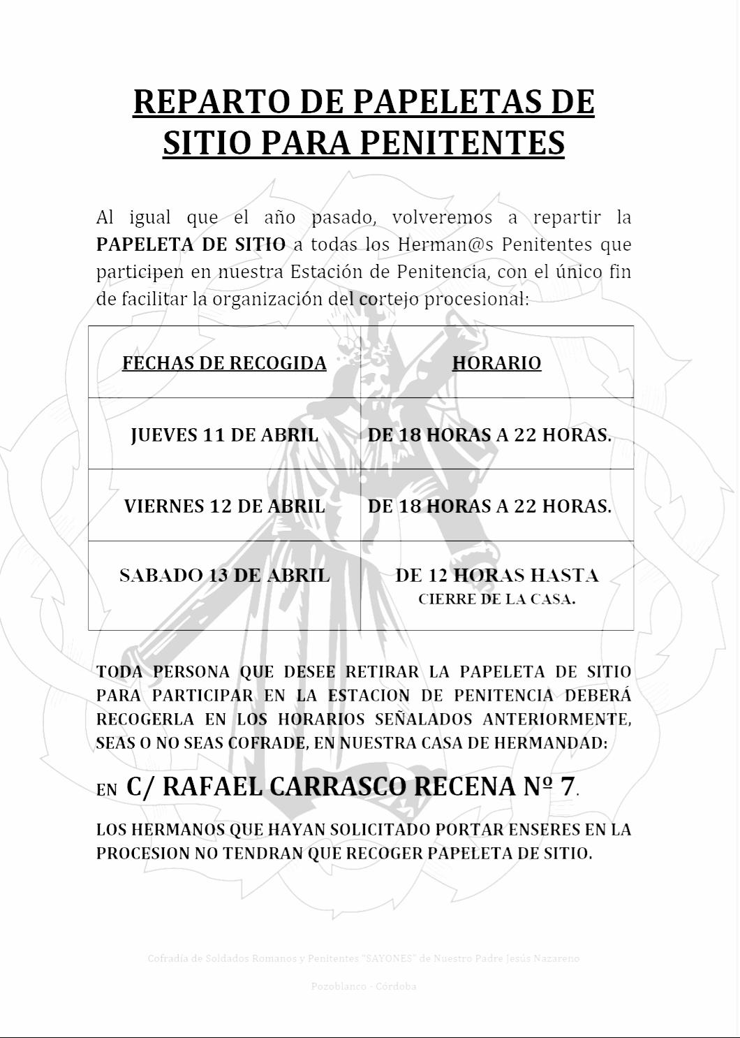 Reparto papeletas de sitio Cofradia Sayones Pozoblanco